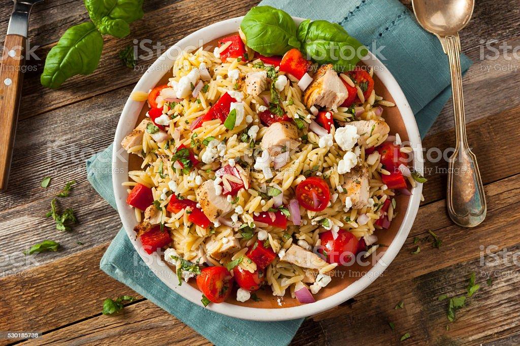 Homemade Chicken Orzo Salad stock photo