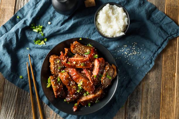 Homemade Chinese BBQ Pork Ribs stock photo