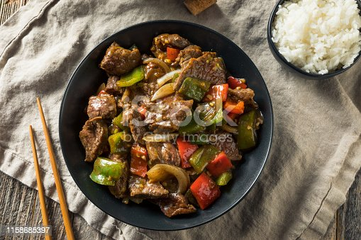 Homemade Chinese Pepper Steak with White Rice