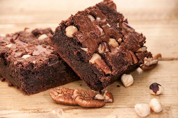 Homemade Chocolate And Nut Brownie Cake stock photo