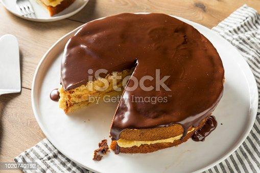 Homemade Chocolate Boston Cream Pie Ready to Eat