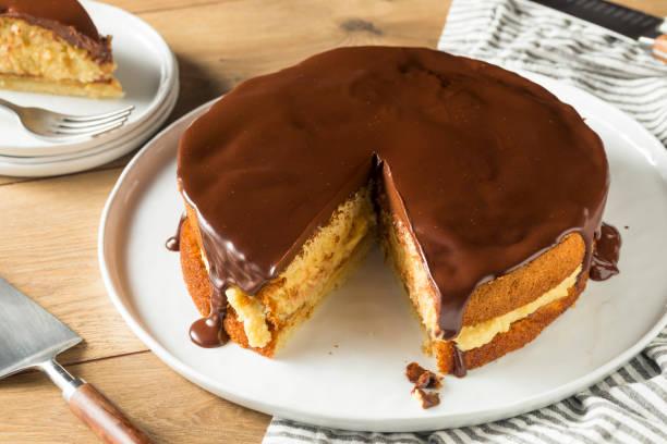 hausgemachte schokolade boston cream pie - schokoladen biskuitkuchen stock-fotos und bilder