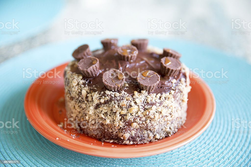 Homemade chocolate cake decorated with mini peanut butter cups stock photo