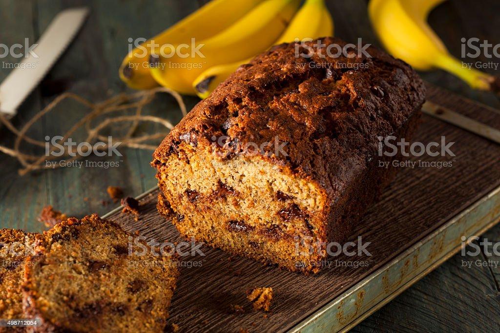 Homemade Chocolate Chip Banana Bread stock photo
