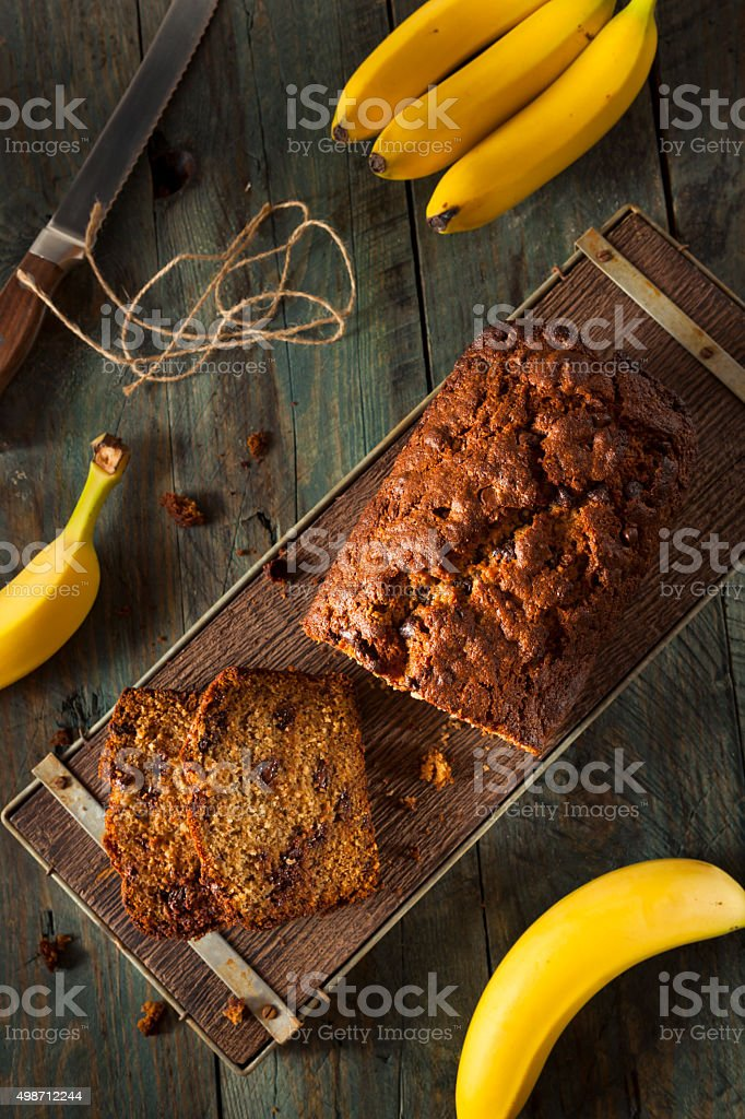Homemade Chocolate Chip Banana Bread stock photo