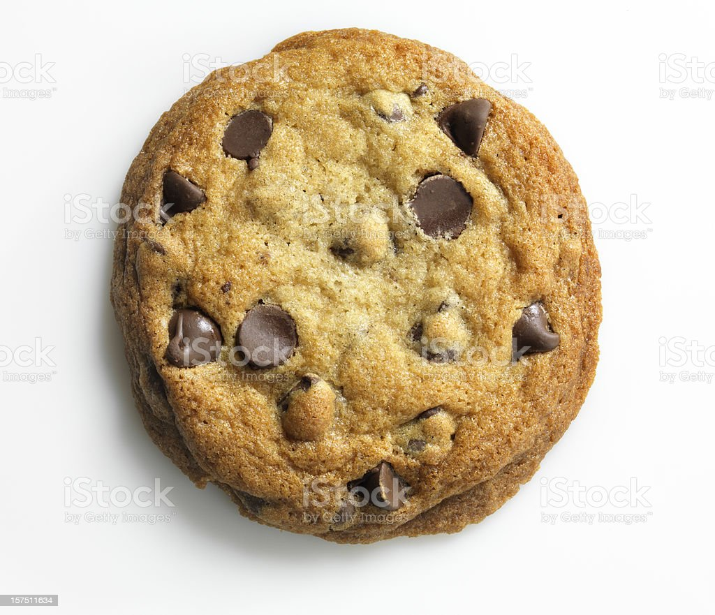 Homemade Chocolate Chip Cookie on white, overhead, XXXL