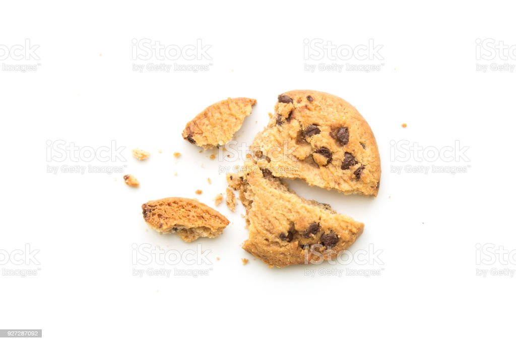 homemade chocolate chip cookies on white background in top view stock photo