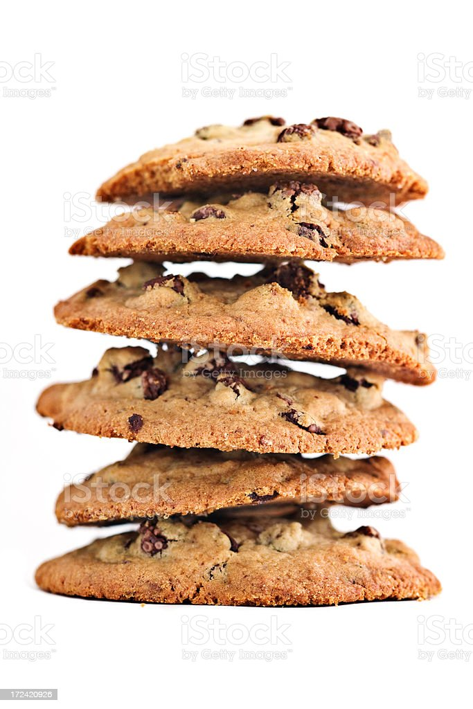 homemade chocolate chip cookies stacked (shallow depth of field) royalty-free stock photo