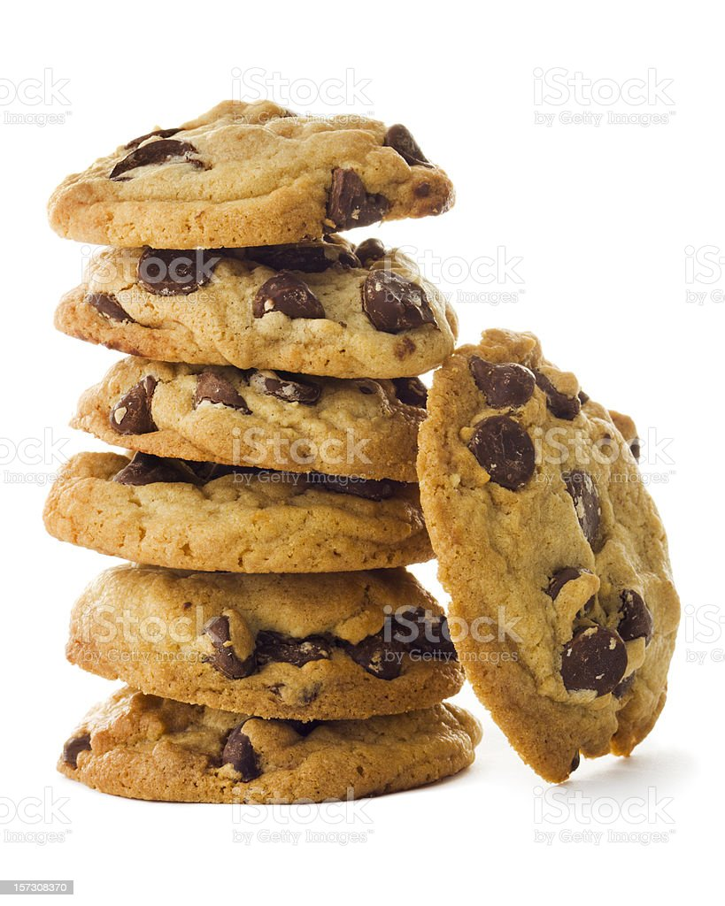 Homemade Chocolate Chip Cookies Stacked Tower Isolated on White Background stock photo