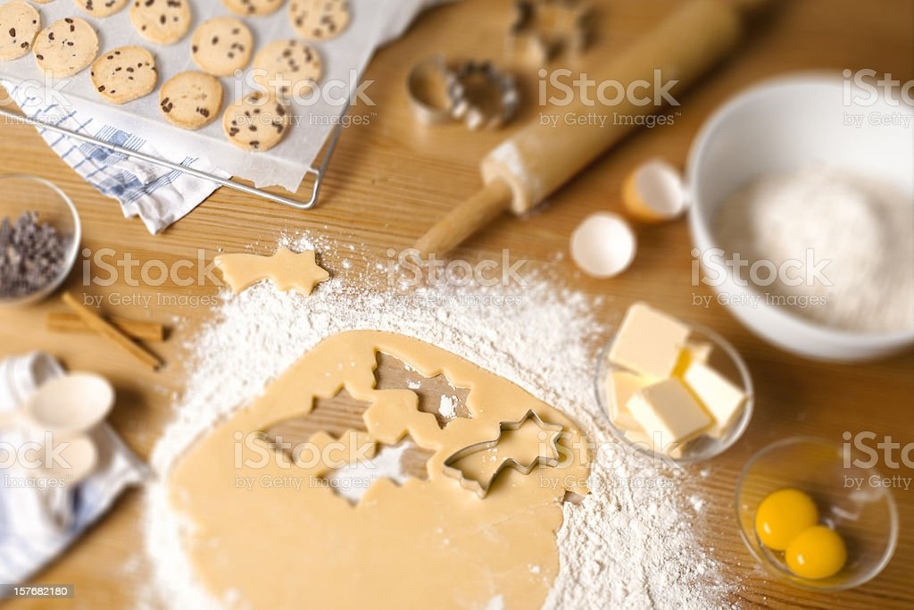 Homemade chocolate chip cookies with flour eggs and butter royalty-free stock photo