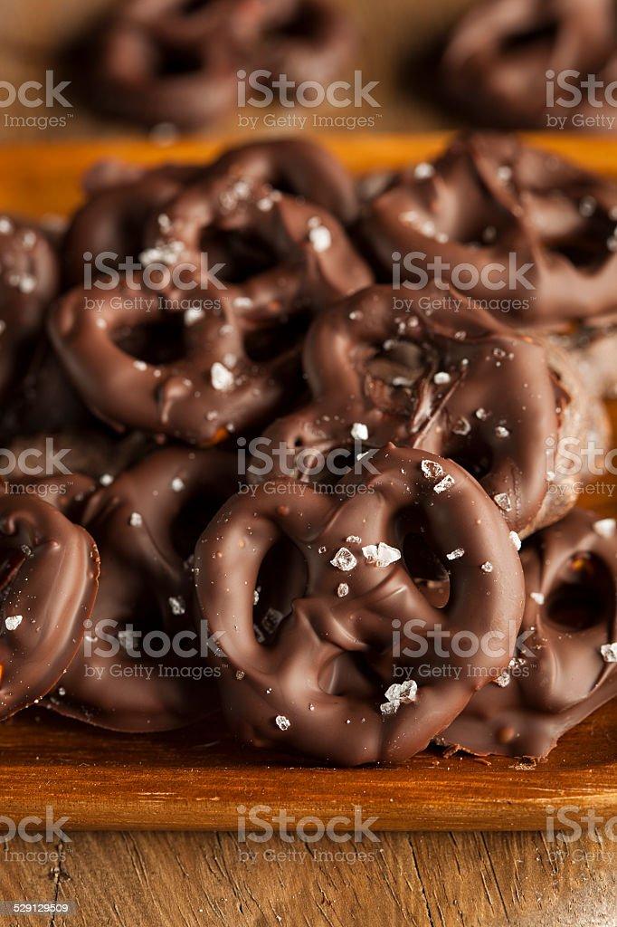 Homemade Chocolate Covered Pretzels stock photo