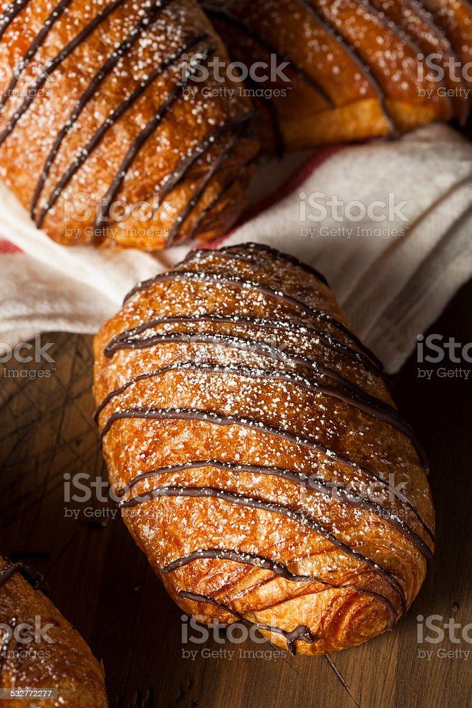 Homemade Chocolate Croissant Pastry stock photo