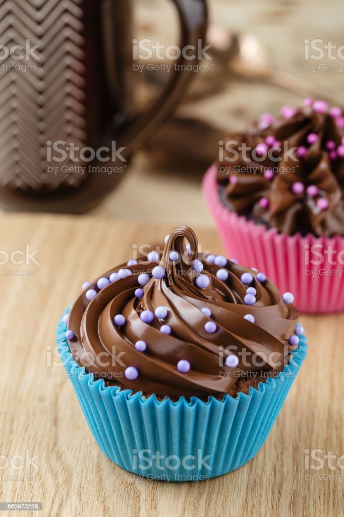 Homemade chocolate cupcakes stock photo