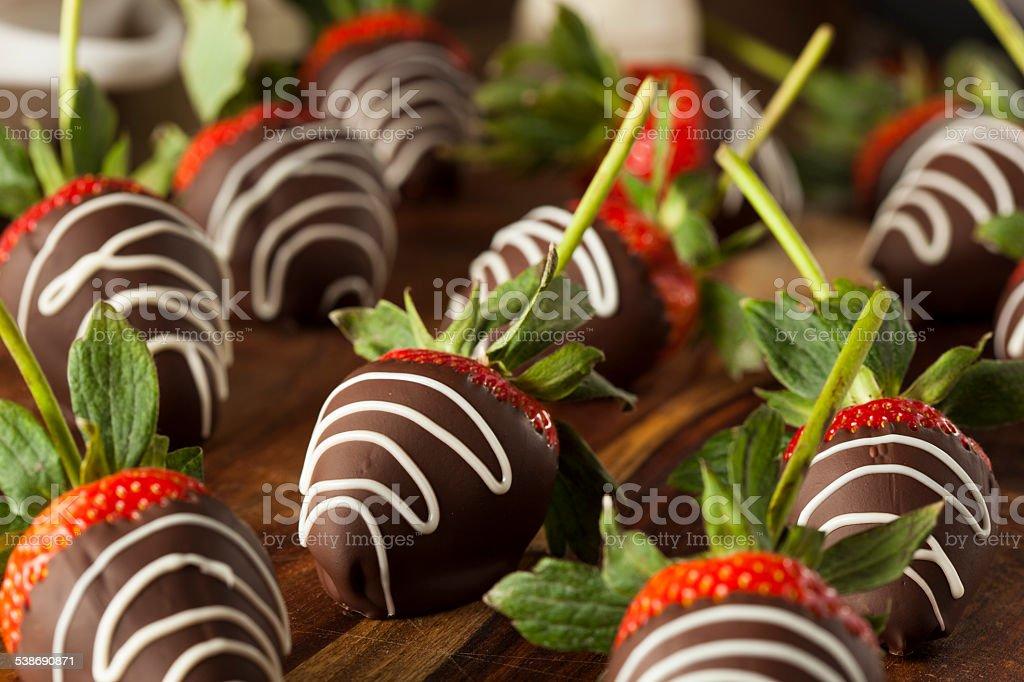 Homemade Chocolate Dipped Strawberries stock photo
