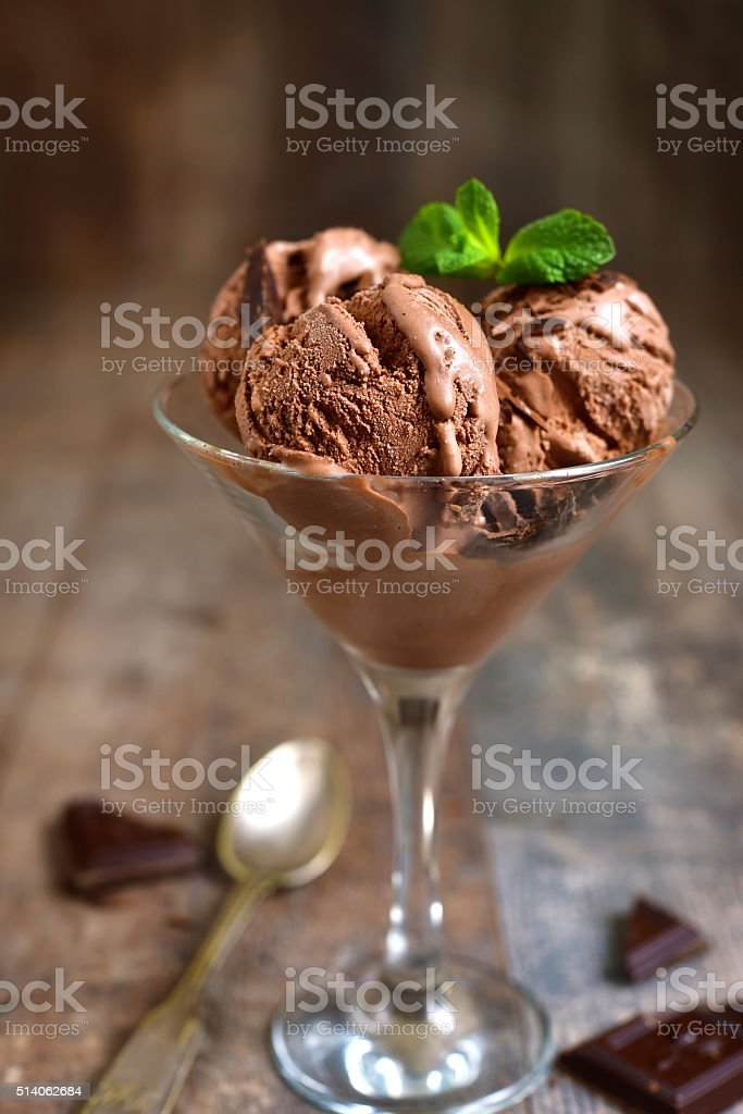 Homemade chocolate ice cream with chocolate chips. stock photo
