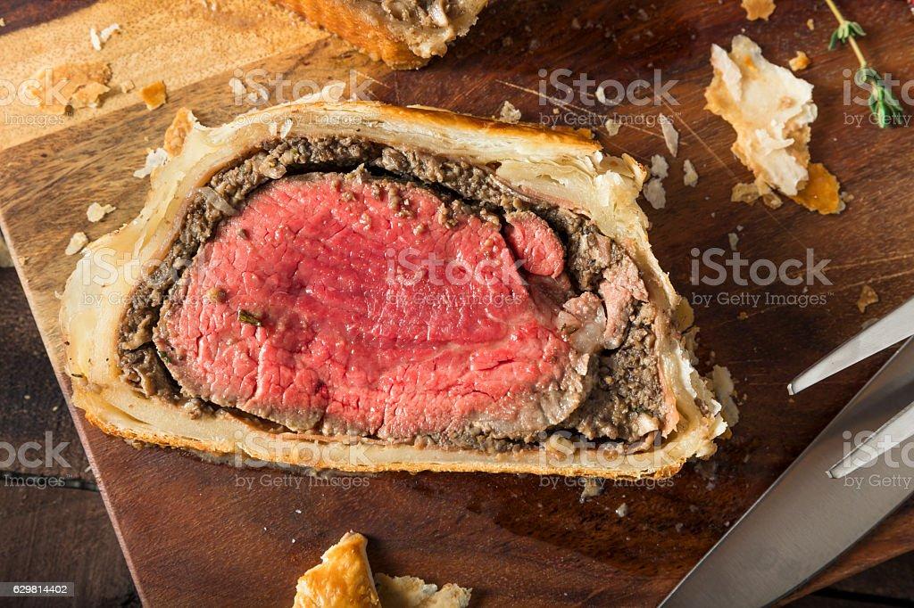 Homemade Christmas Beef Wellington stock photo