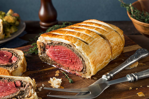 Homemade Christmas Beef Wellington stock photo