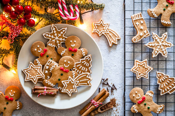 homemade christmas cookies on gray table - christmas cookies stock pictures, royalty-free photos & images