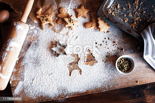 Traditional homemade christmas cookies on old wooden table top view