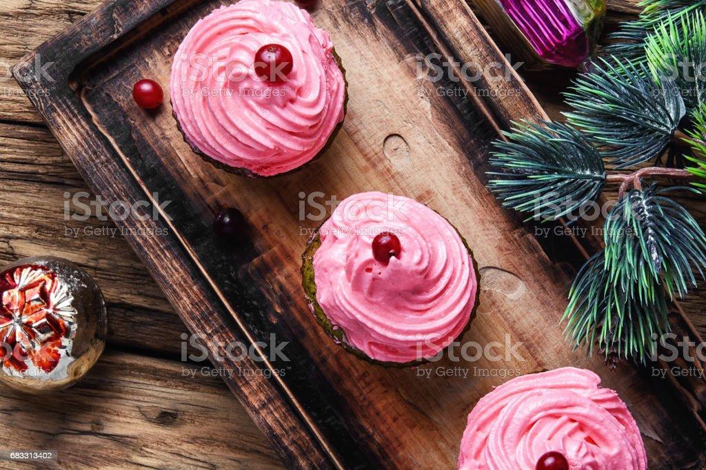 Homemade christmas cupcakes royaltyfri bildbanksbilder