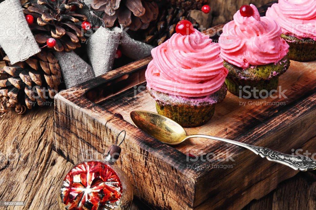 Homemade christmas cupcakes zbiór zdjęć royalty-free