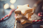 Homemade star shaped gingerbread cookies