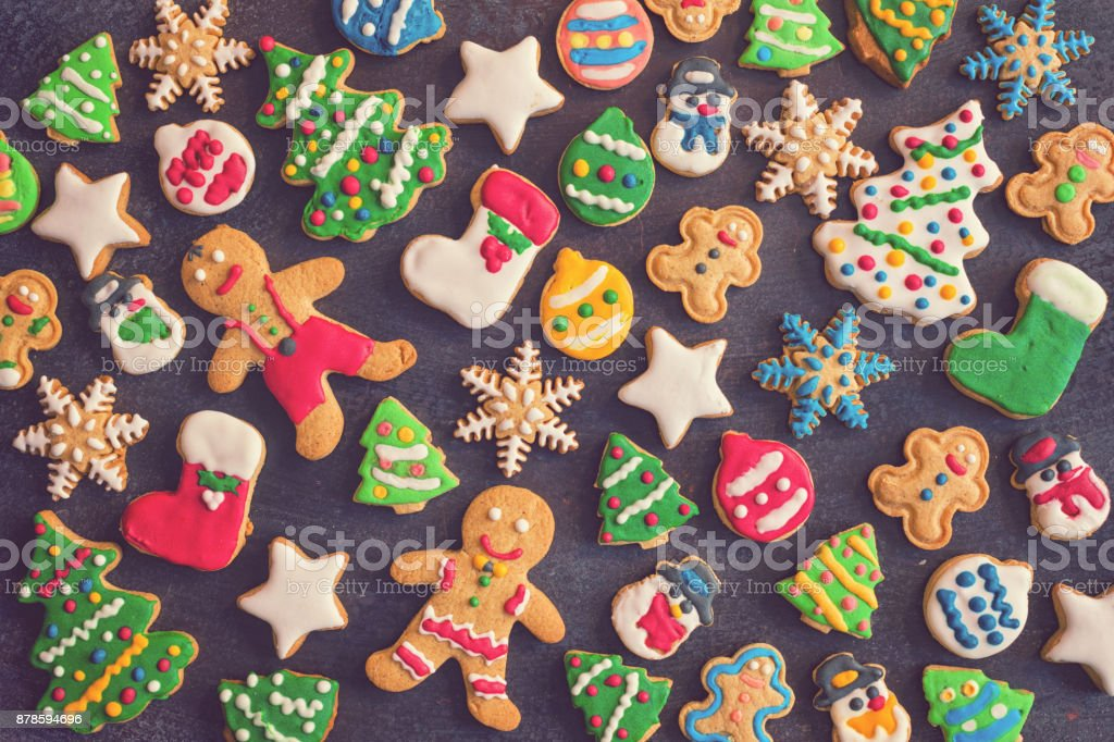 Homemade Christmas Gingerbread Cookies - foto stock