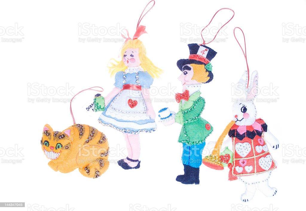 Homemade Christmas Ornament Felt Alice in Wonderland Isolated White Background royalty-free stock photo