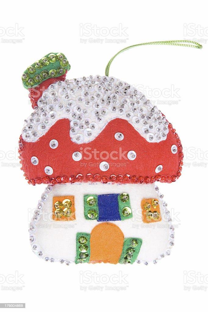 Homemade Christmas Ornament Felt Fairytale Mushroom House Isolated White Background stock photo