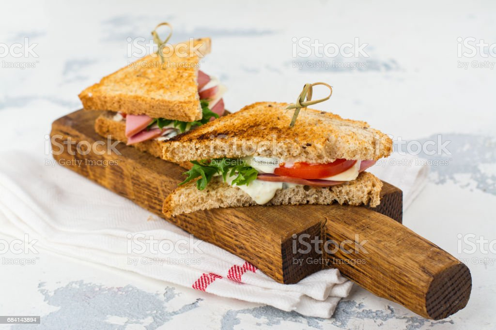 Homemade club sandwiches zbiór zdjęć royalty-free