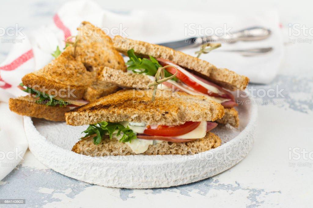 Homemade club sandwiches royalty free stockfoto
