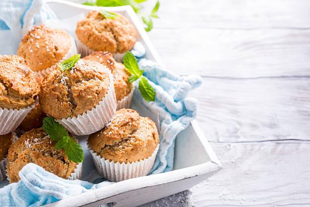 homemade coconut cinnamon muffins - muffin foto e immagini stock