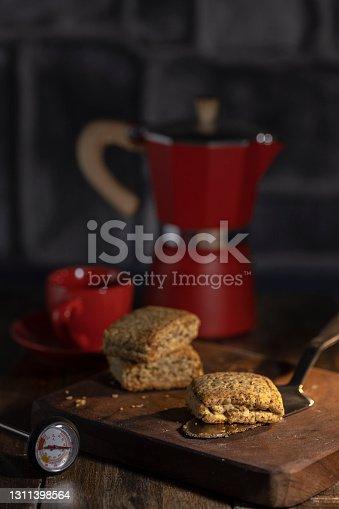 homemade coffee and whole grain cookies