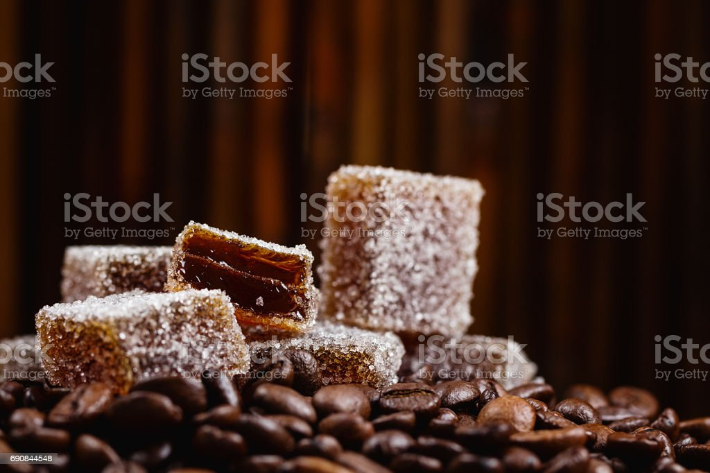 Homemade coffee marmalade Homemade jelly flavored coffee on coffee beans background. Natural marmalade Apostasy Stock Photo