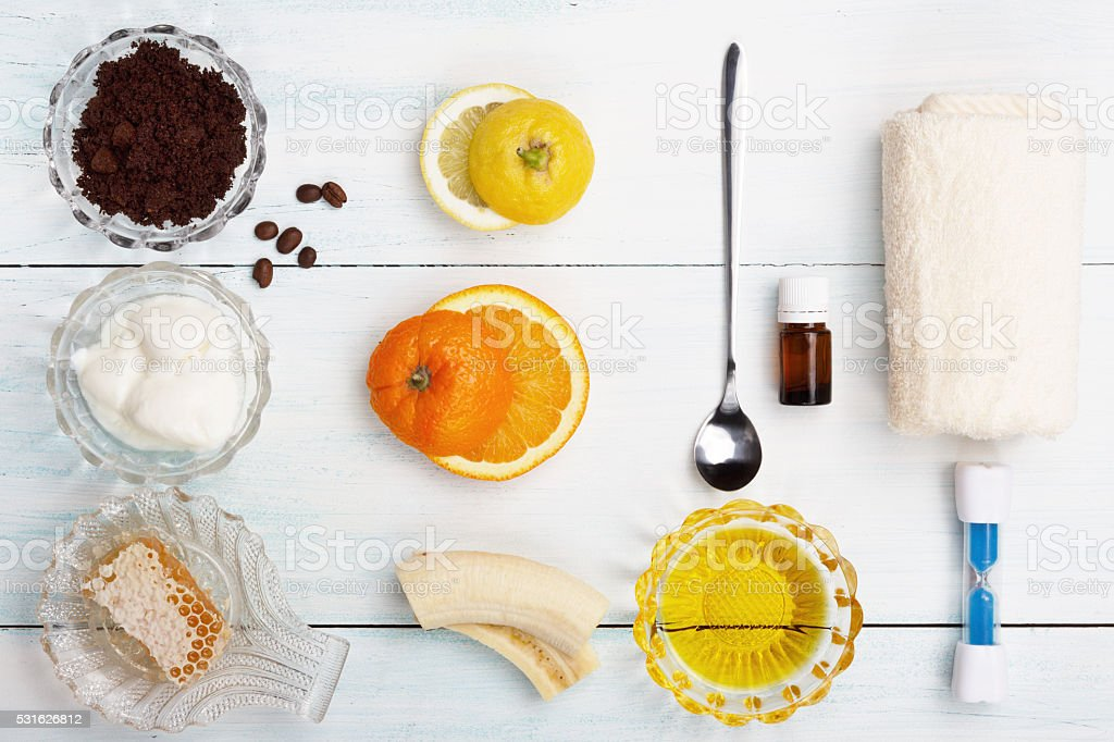 Homemade coffee scrub with grapeseed oil, sugar, yogurt stock photo