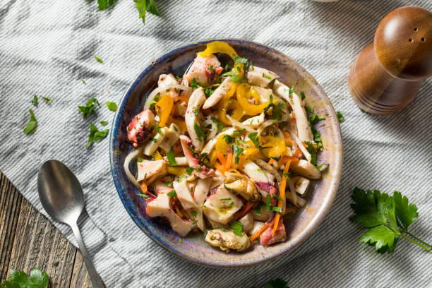 Homemade Cold Seafood Salad stock photo