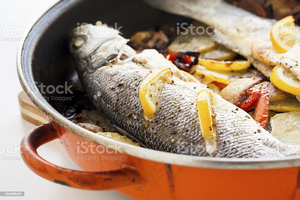 Homemade cooked fish stock photo