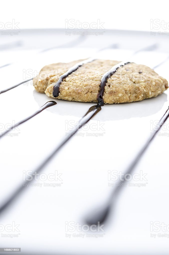 Homemade cookie decorated with chocolate royalty-free stock photo