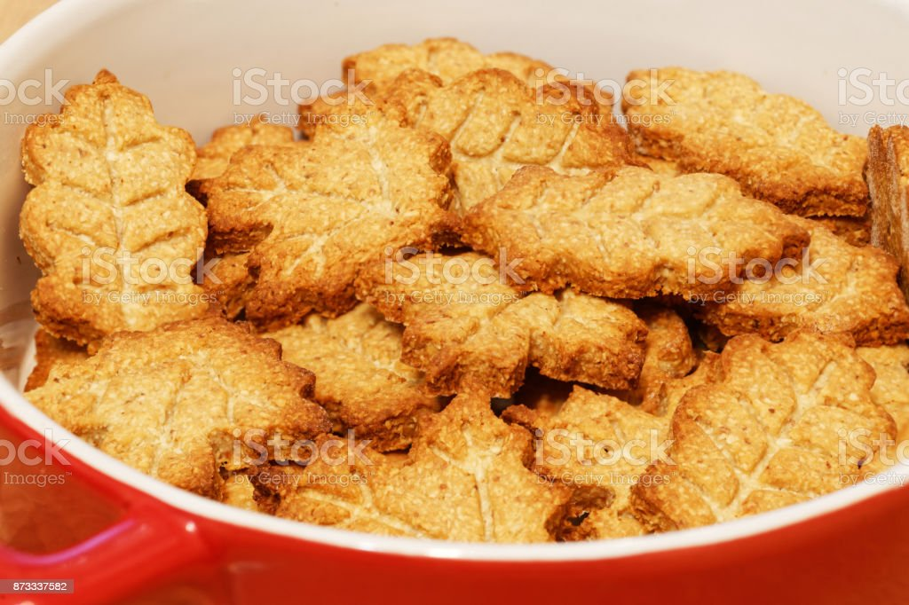 Homemade cookies in the form of leaves stock photo