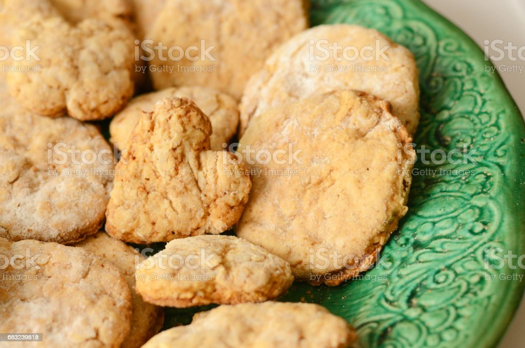 homemade cookies on a vintage green dish royalty-free 스톡 사진