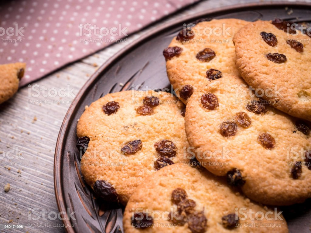 homemade cookies on a vintage wooden background. close-up stock photo