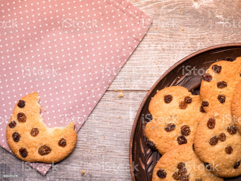 homemade cookies on a vintage wooden background stock photo