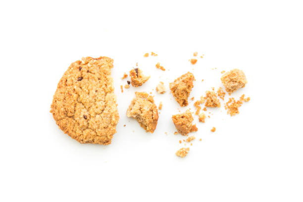 homemade cookies on white background - briciola foto e immagini stock