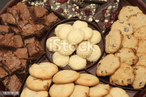 A platter of homemade cookies and sweets.