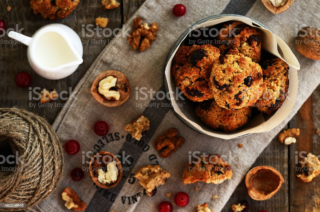 Homemade cookies with dried cranberry and walnut stock photo