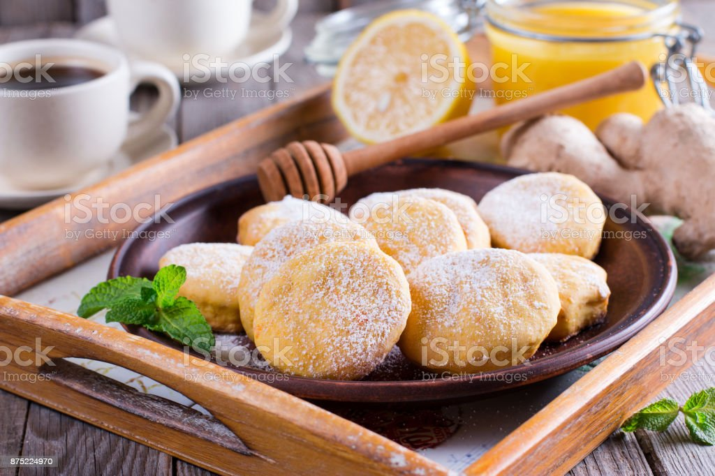 Homemade cookies with lemon flavor stock photo