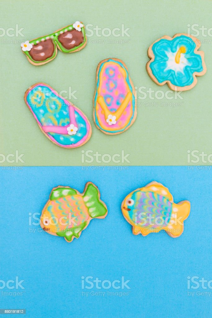 Homemade cookies with tropical summer beach theme. stock photo