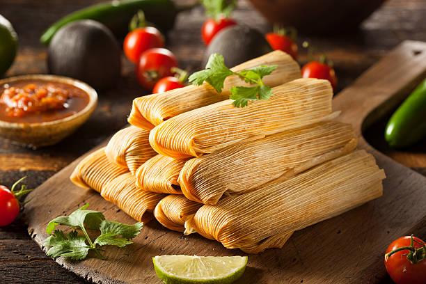 Homemade Corn and Chicken Tamales stock photo