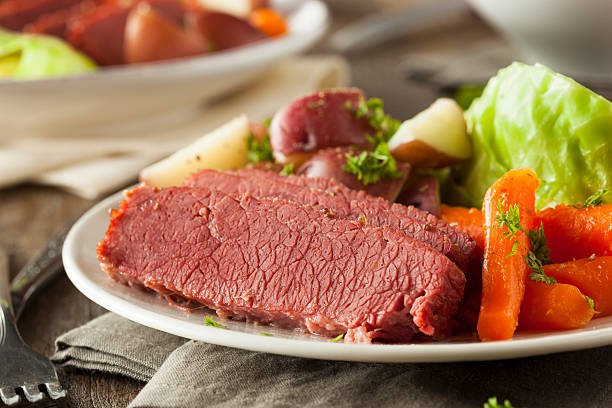 homemade corned beef and cabbage - pastrami stock pictures, royalty-free photos & images