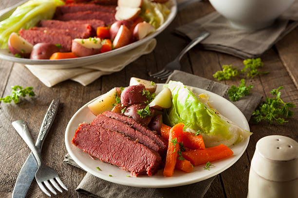 homemade corned beef and cabbage - st patricks day food stock photos and pictures